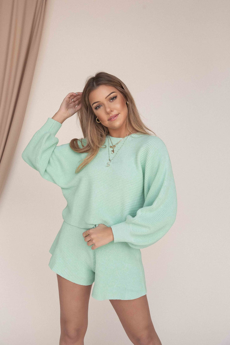 Misty Jade Knit Sweatshirt - LLACIE