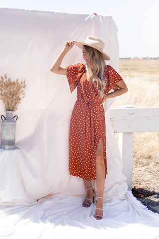 Rust Slit Polka Dot Dress