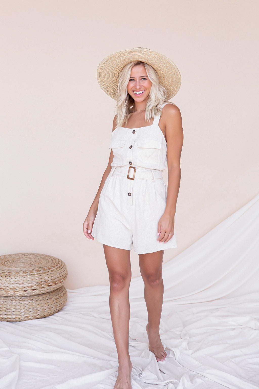 Napa Natural Button Linen Romper- FINAL SALE | LLACIE