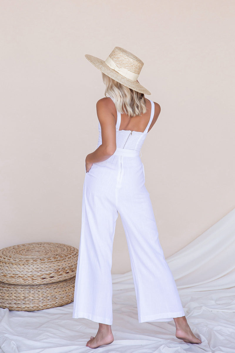 Brunch Cropped Linen Jumpsuit- FINAL SALE | LLACIE
