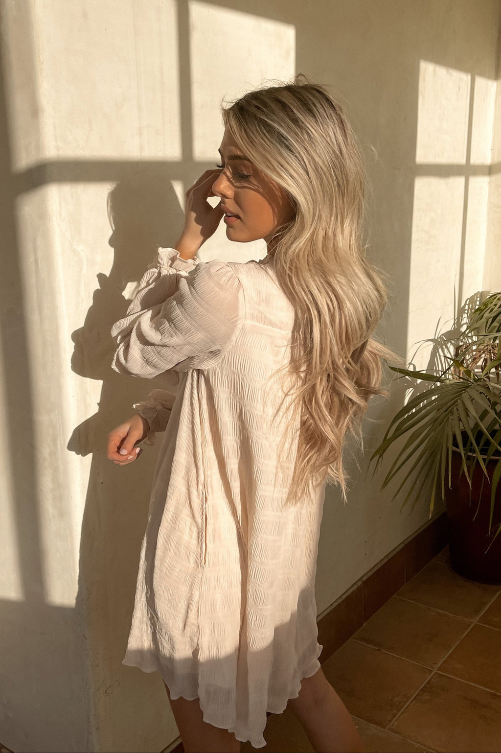 Isabelle Cream Long Sleeve Tunic Dress - LLACIE