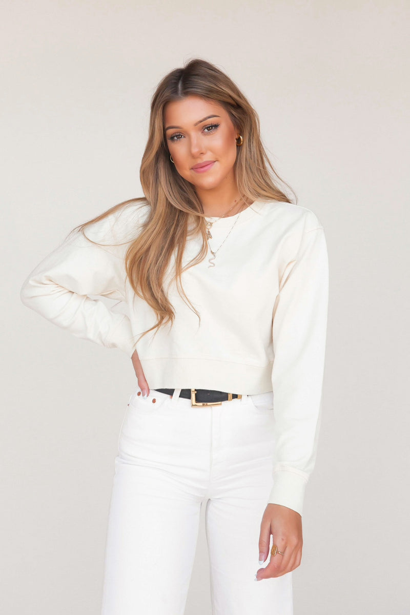 Cream Cropped Sweatshirt - LLACIE
