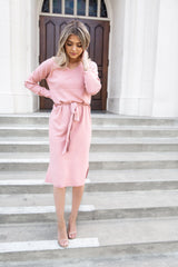 Macy Blush V Neck Sweater Dress - llacie