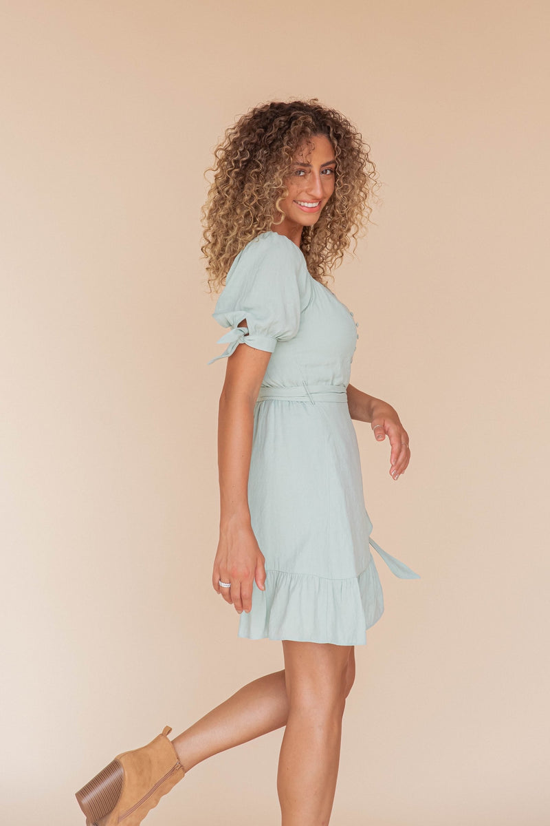 Cecily Sage Wrap Dress- FINAL SALE