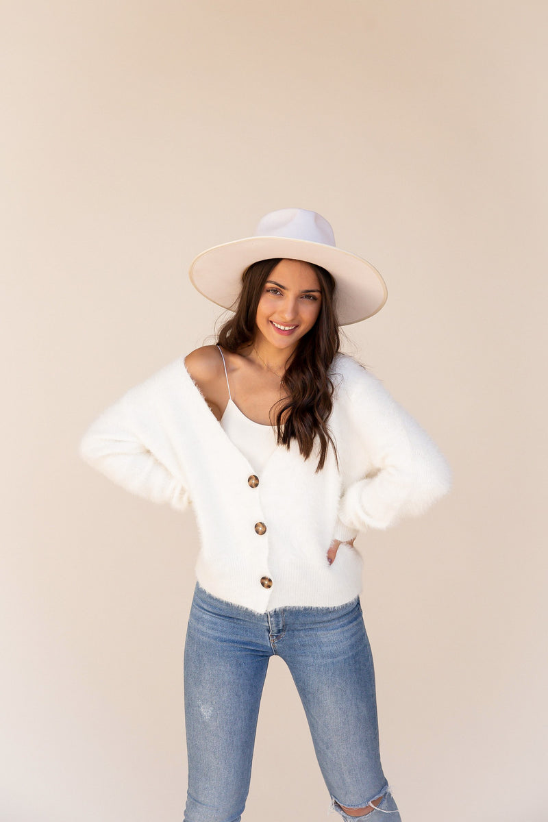 Charlotte Fur Cardigan | Cream