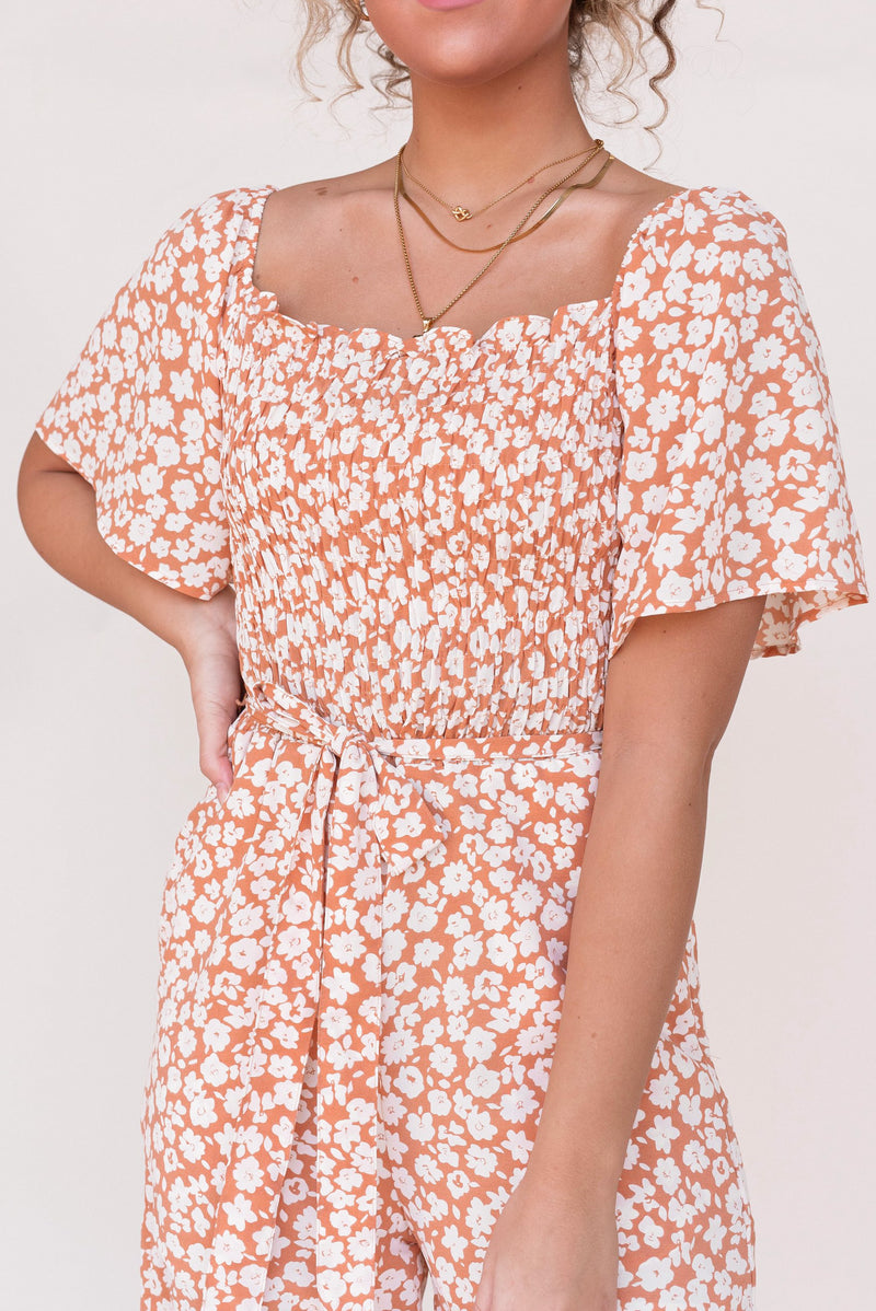 In The Sun Apricot Floral Jumpsuit - LLACIE