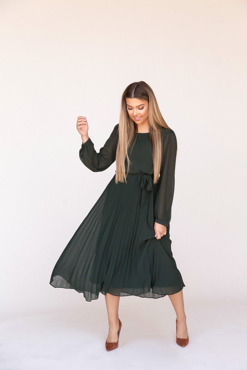 Finley Chiffon Pleated Dress | Emerald