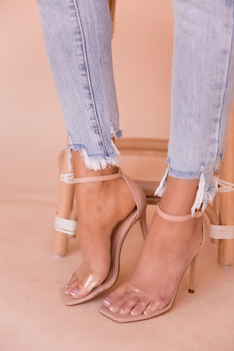 Carolina Clear Square Toe Strap Heels