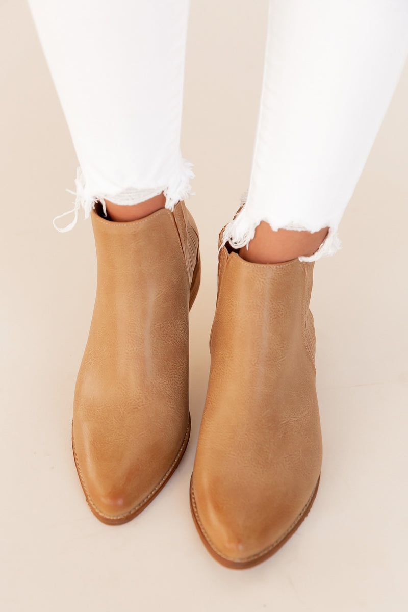 Kyra Taupe Low Booties | LLACIE