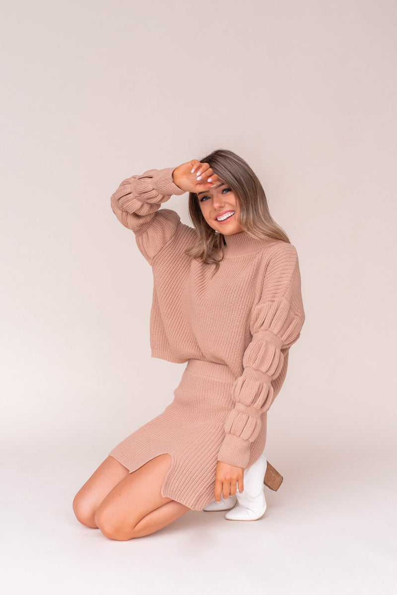 Moon City Bubble Sleeve Set | Tan | LLACIE