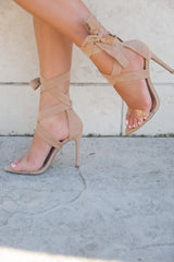 Nude Lace Up Heels - llacie