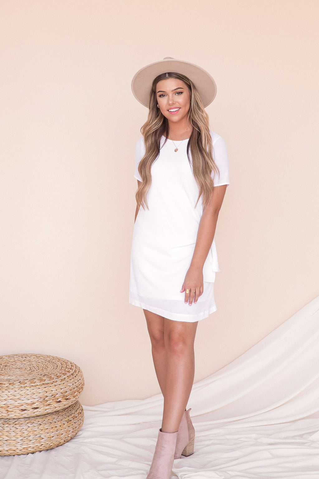 Knot A Worry White Shirt Dress