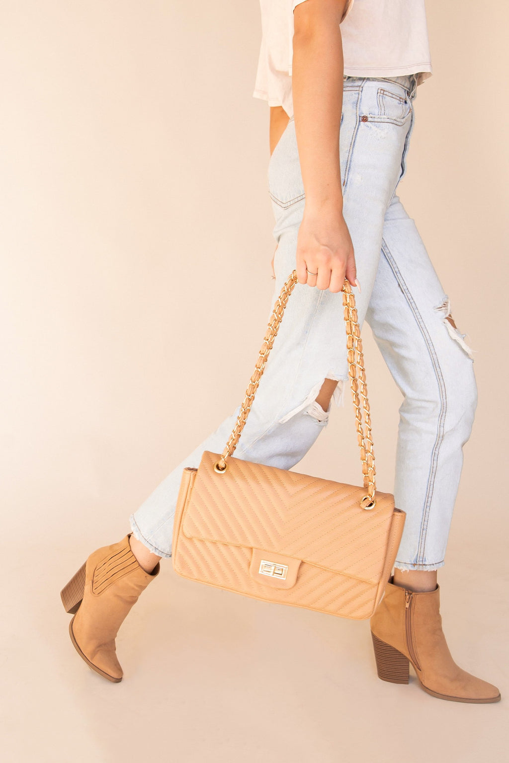 Ember Tan Quilted Bag | LLACIE