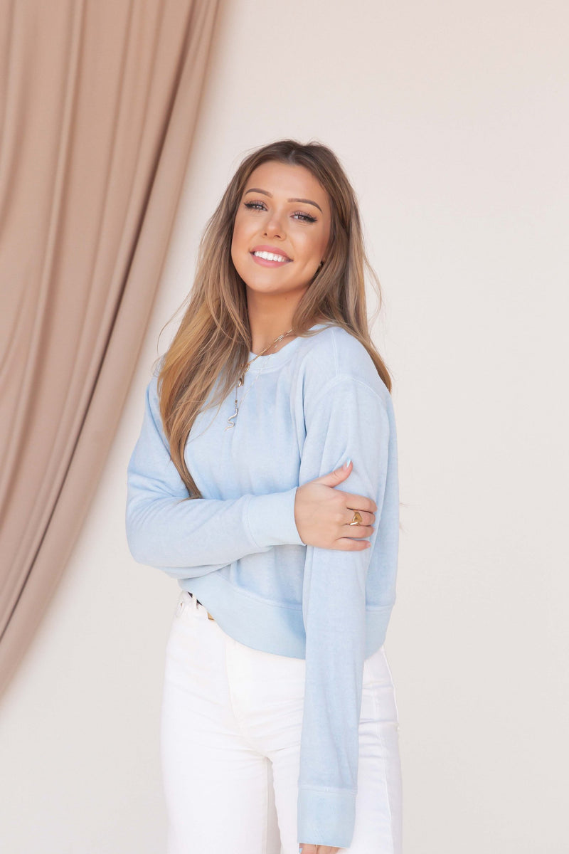 Butter Soft Blue Cropped Sweatshirt - LLACIE