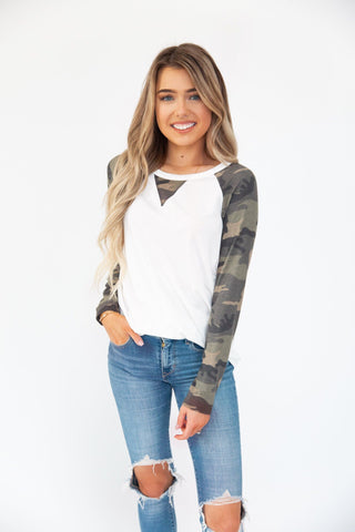 Carly White And Green Baseball Tee - llacie