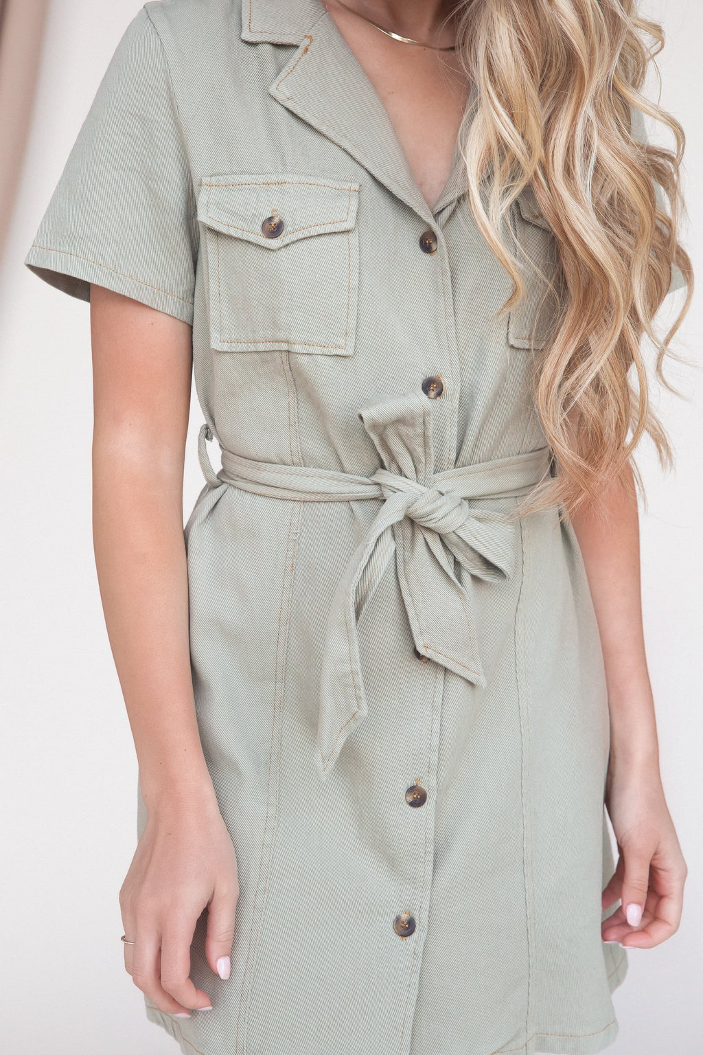 Irene Olive Short Sleeve Button Down Dress