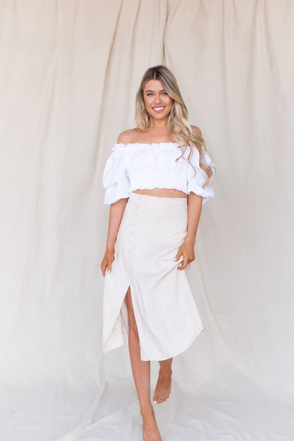 Linen Button Down Skirt - LLACIE