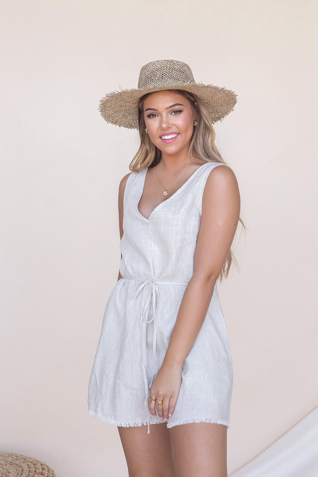 Mandala Linen V Neck Romper- FINAL SALE | LLACIE