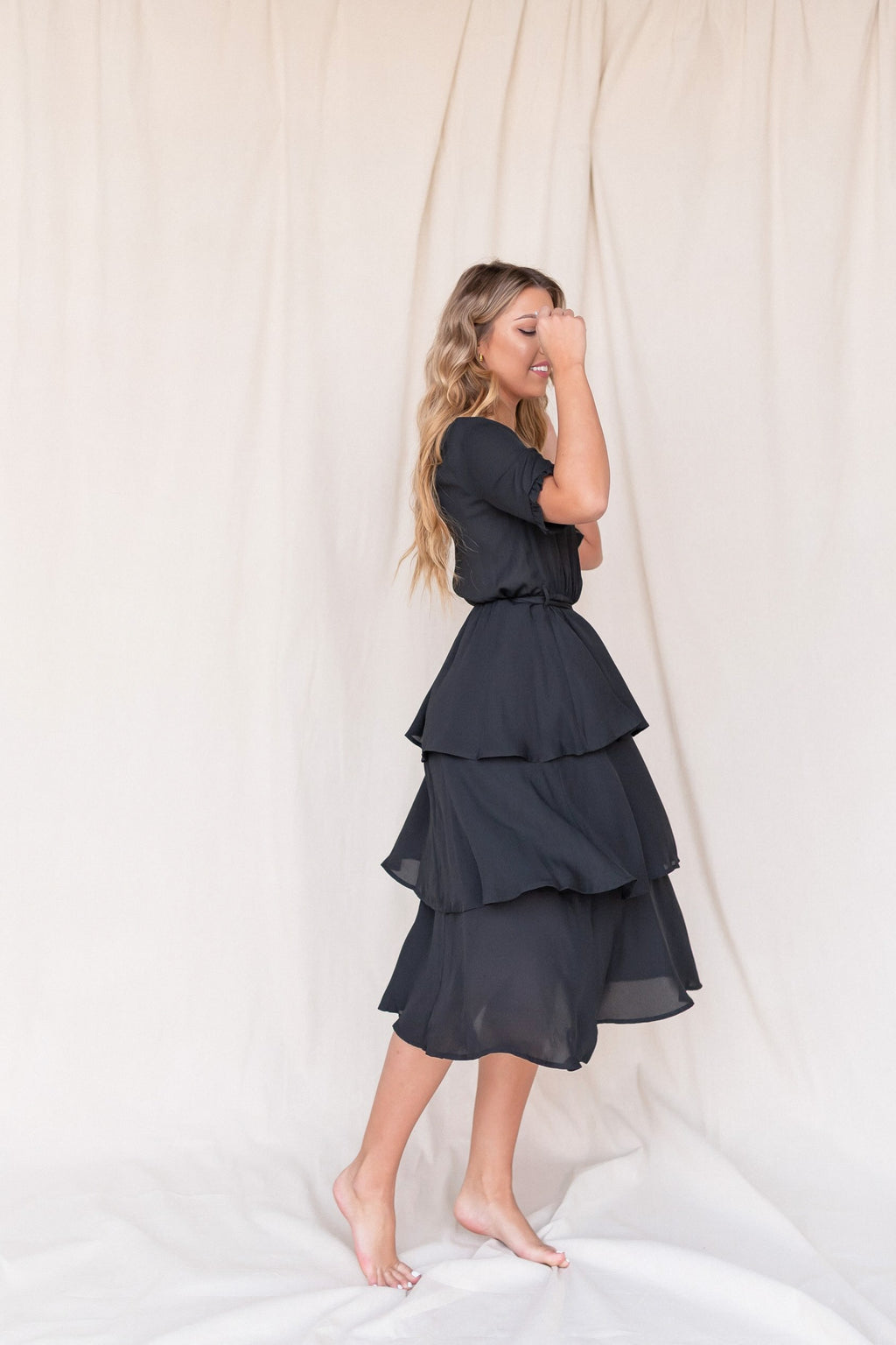 Adele Black Tiered Dress