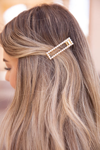 Rectangle Pearl Hair Clip - llacie