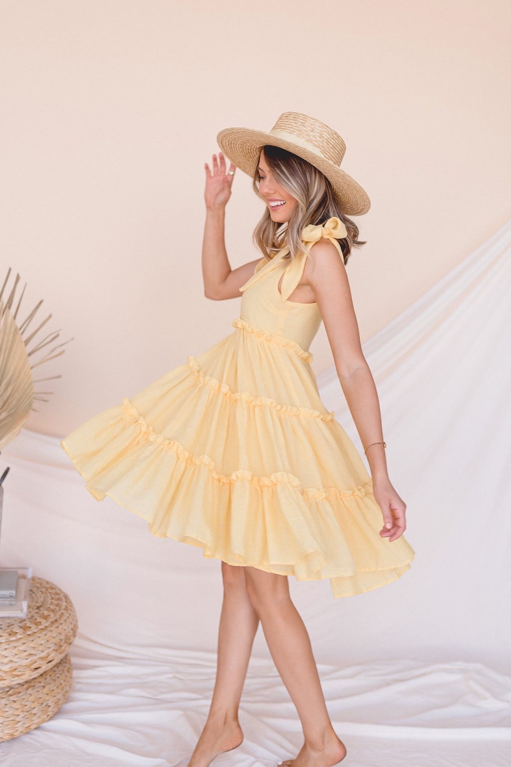 Postcard Ruffle Tiered Tie Dress | Yellow- FINAL SALE | LLACIE