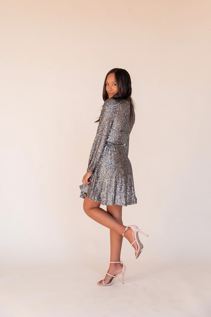 Life of The Party Sequin Wrap Dress | LLACIE
