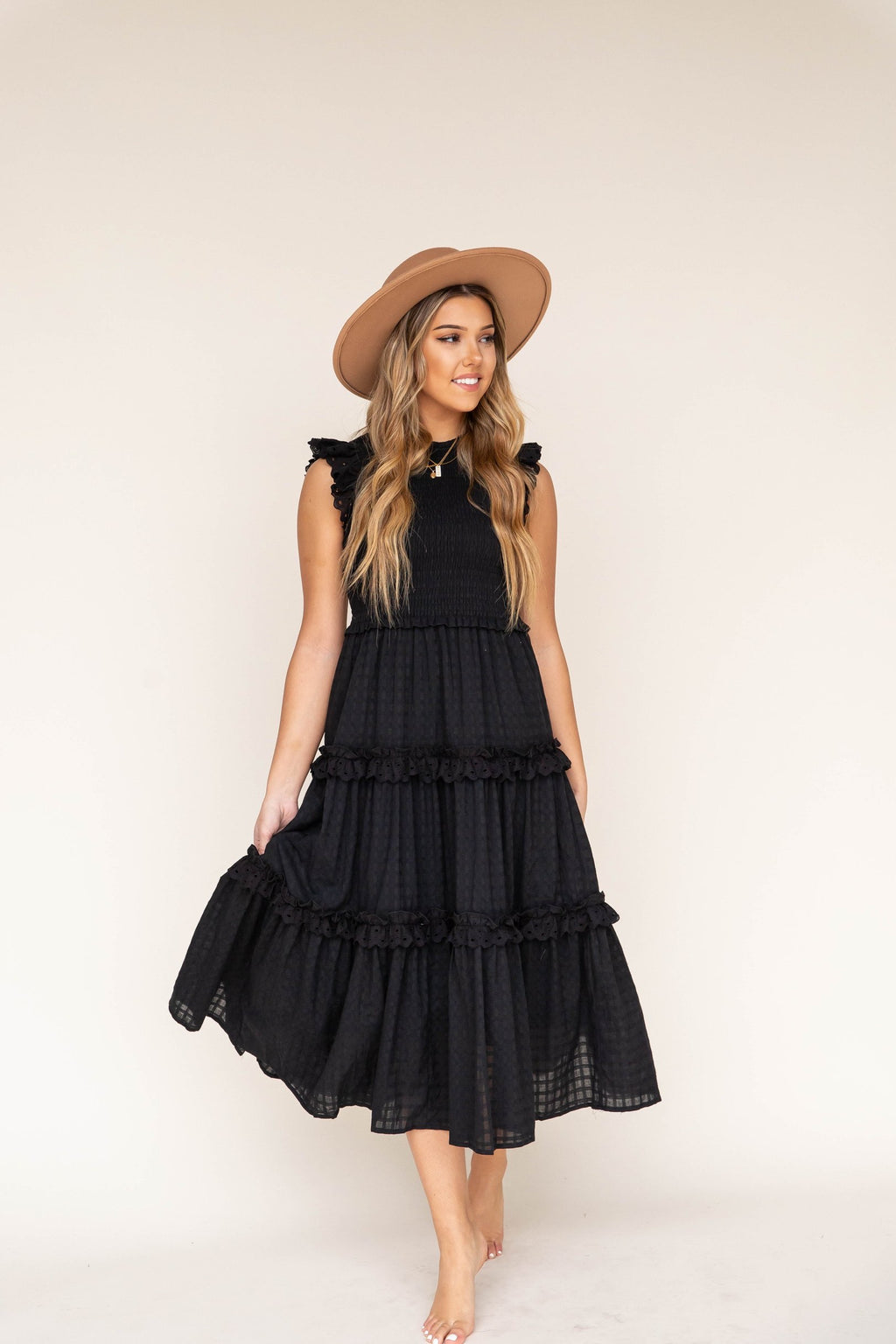 Remy Black Smocked Midi Dress | LLACIE