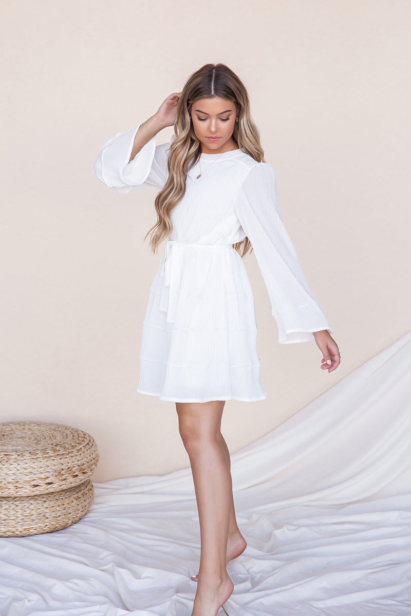 Flirt Pleated Ruffle Mini Dress