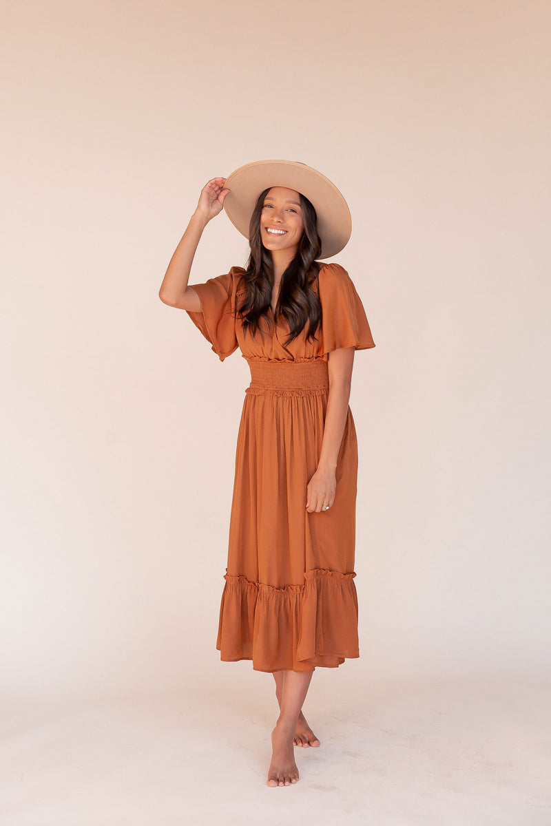 Delaney Rust Smocked Midi Dress | LLACIE