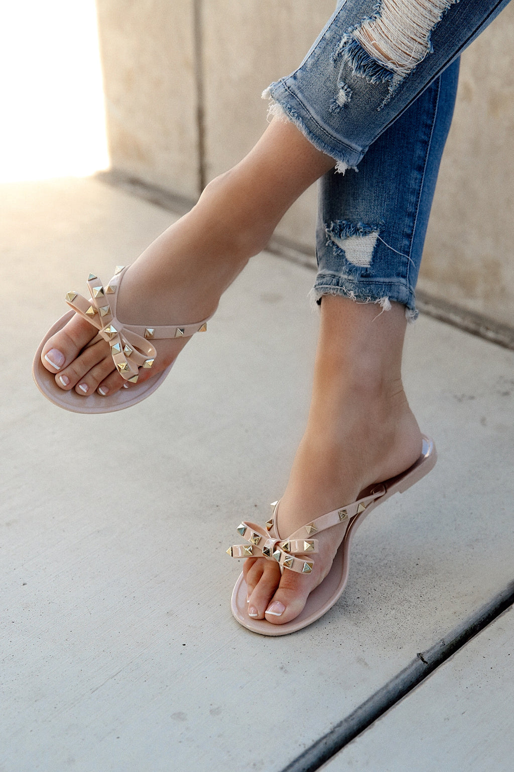 Nude Rockstud Jelly Sandal- FINAL SALE