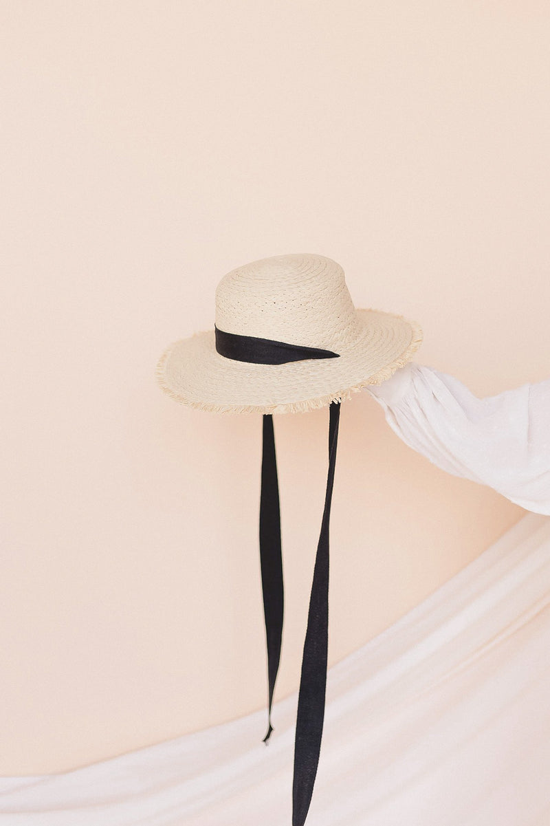 Ribbon Tie Boater Hat- FINAL SALE