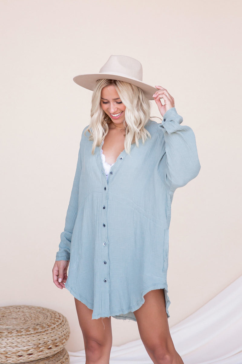 Jayla Cotton Button Down Oversized Shirt | Sage