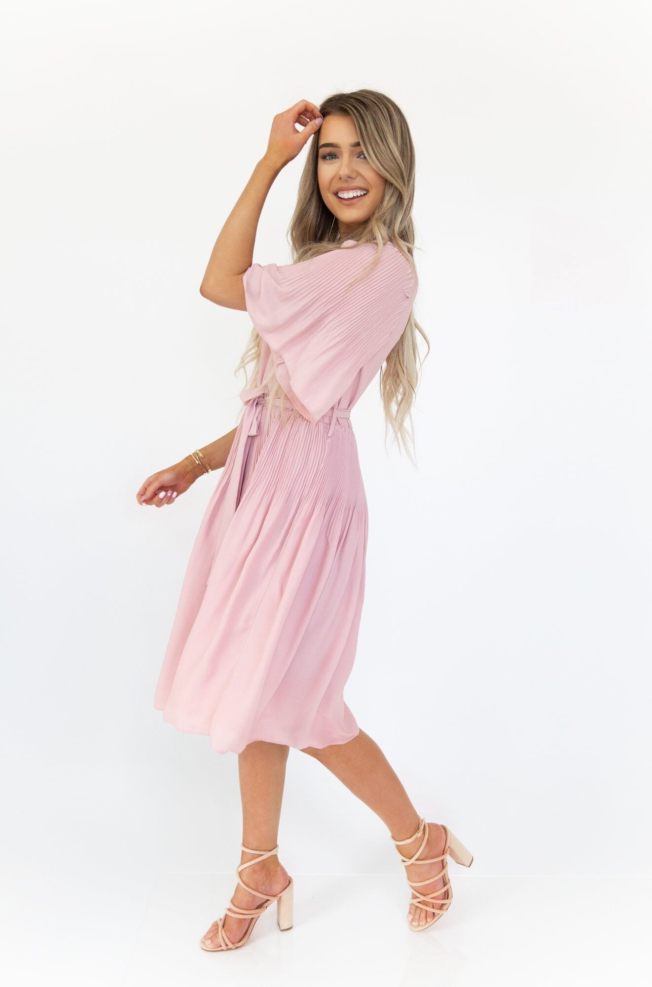 Lovely Pink Pleated Dress - llacie