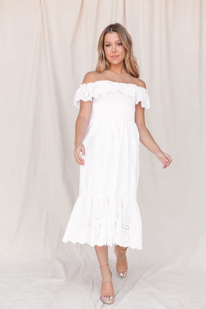 Nikita White Cotton Dress - LLACIE