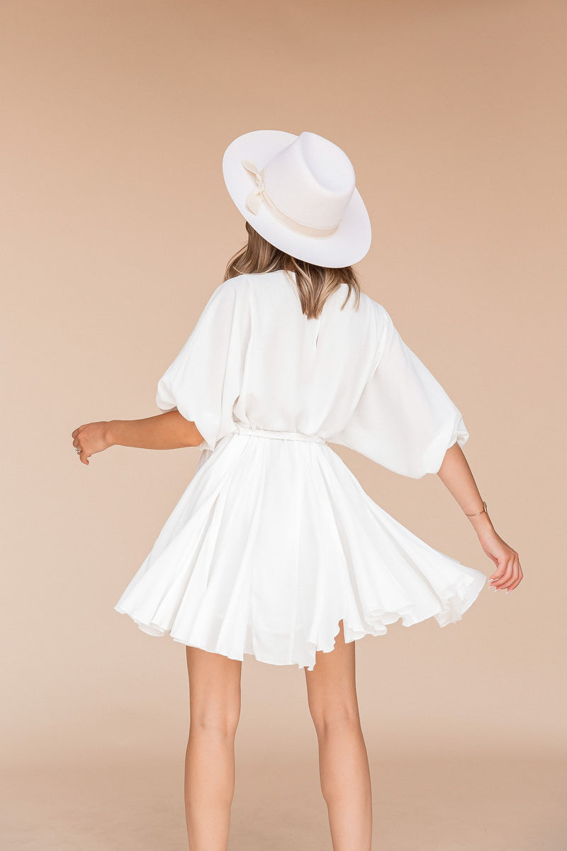 Lindsay Braid Tie White Dress