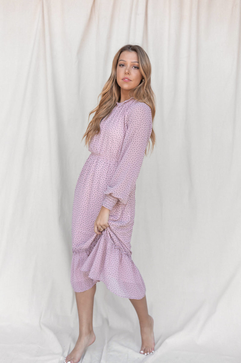Athena Mauve Dot Dress - LLACIE
