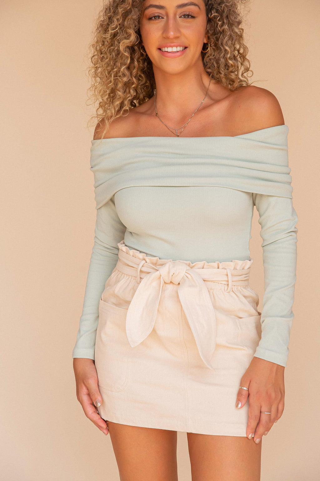 Cora Beige Cargo Skirt- FINAL SALE | LLACIE