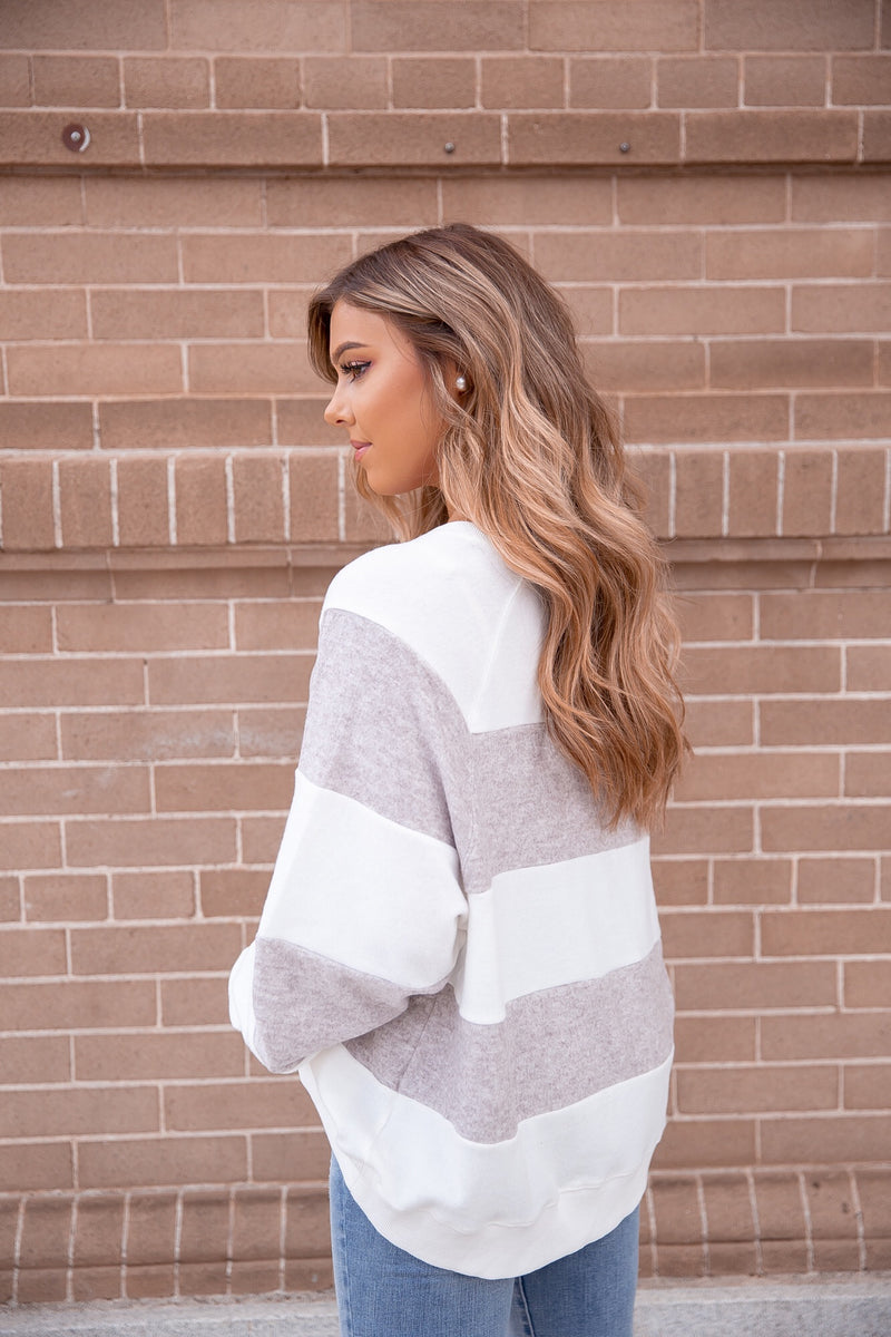 Sugar Grey Stripe Sweater