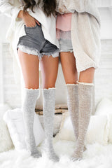 Grey Over The Knee Socks With Lace Ribbon