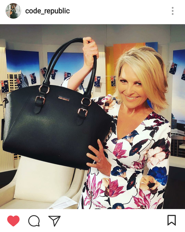 GEORGIE GARDNER from Channel 9 TODAY SHOW loving CODE REPUBLIC Laptop Bags