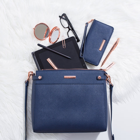 Navy Leather Sierra Tablet Bag