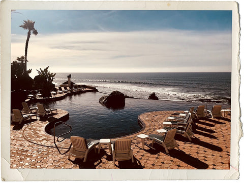 Pool deck overlooking the ocean in Baja California, Mexico