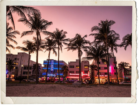 South Beach Miami, Florida - art deco buildings glowing in the sunet