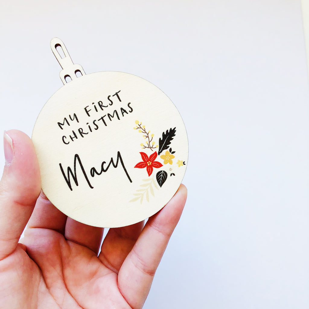 Printed Christmas Baubles - Holly (custom)