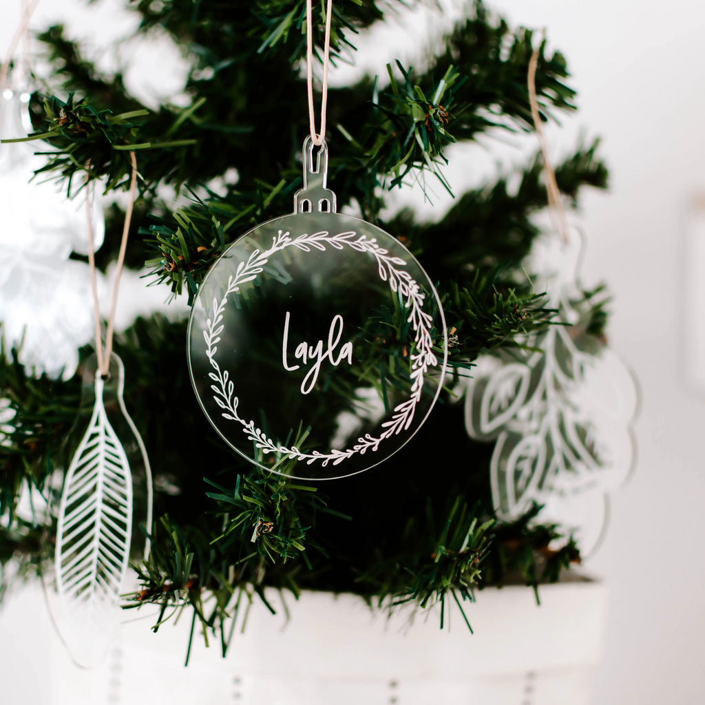 Acrylic Christmas Baubles - Wreath (custom)