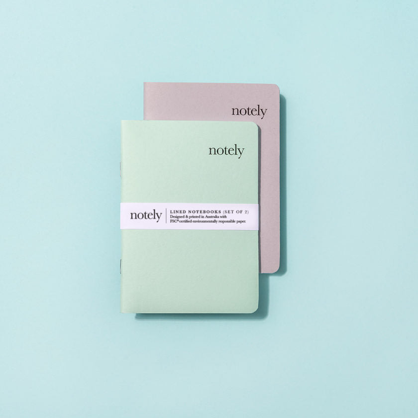 Notely Spearmint & Grey A6 Pocket Notebook (Set of 2)