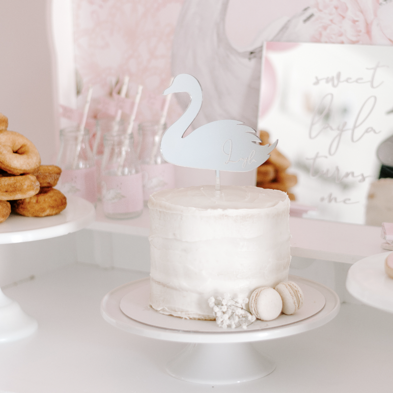 Swan Mirror Cake Topper (custom)