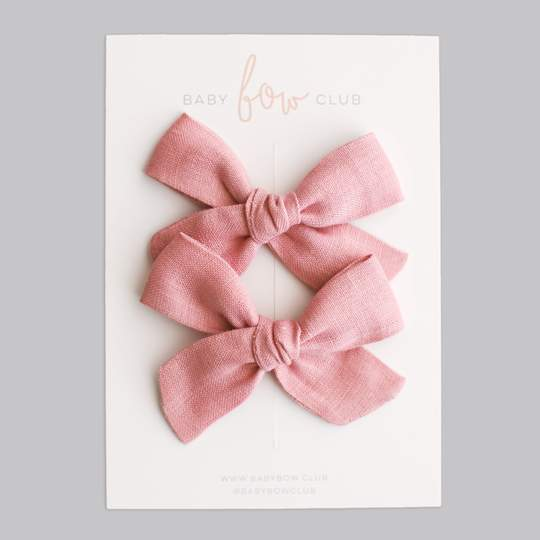 Sweet Pink Linen // Mini Bow // Pigtail Set