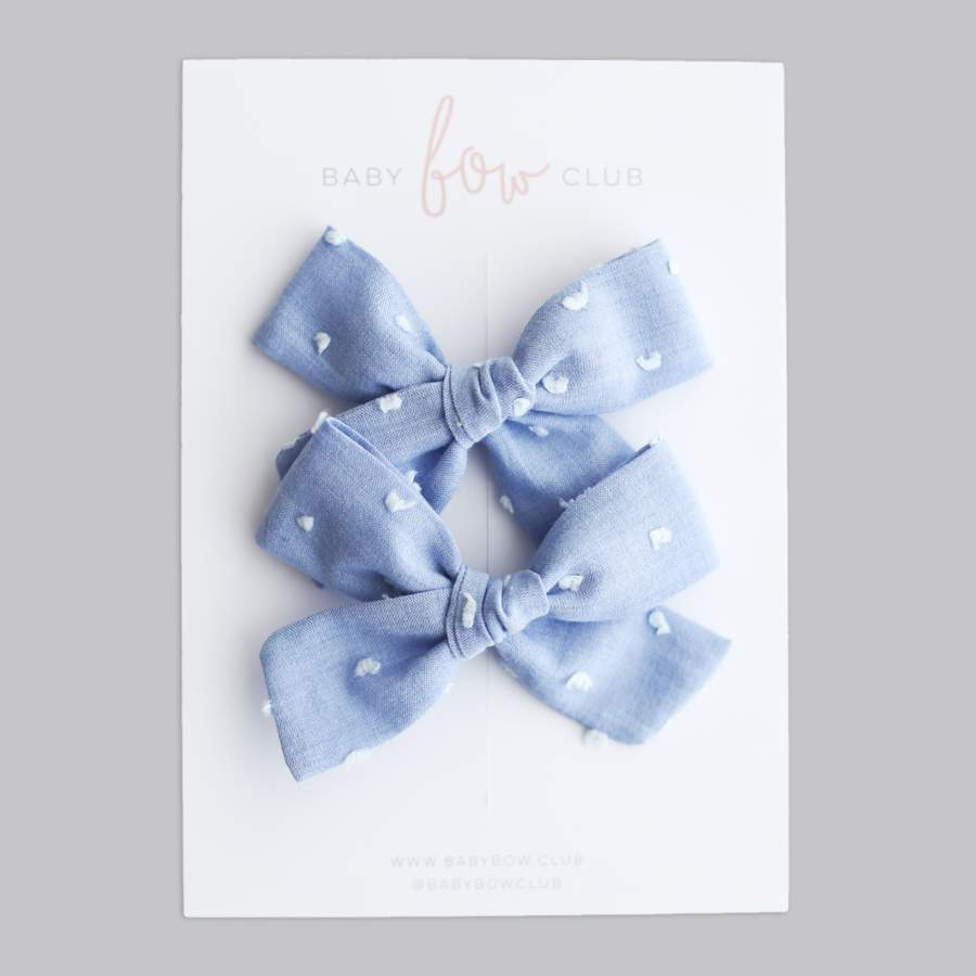 Chambray Swiss Dot Linen // Mini Bow // Pigtail Set
