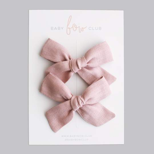Dusty Pink Linen // Mini Bow // Pigtail Set